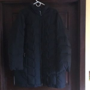 Lands End full length black down jacket with zip